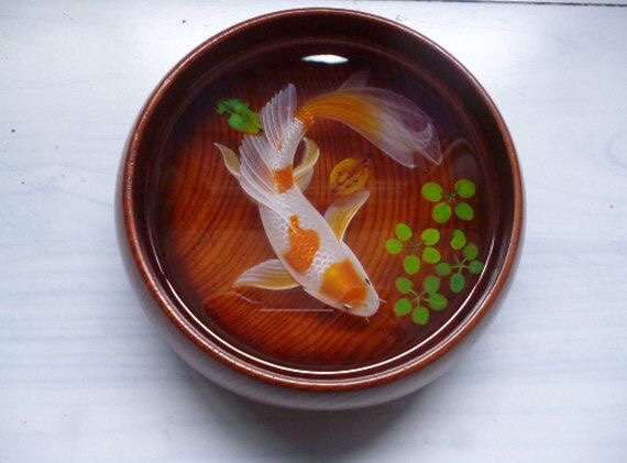 Lovely red orange spots koi fish acrylic painting in the resin water